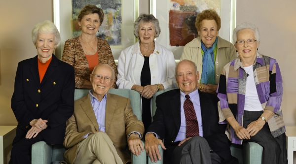 Seated, left to right—Barry Starr, Terry Aldrich, Walt Mattson and Fran Rehl. Standing, left to right—Mary Allyn, Norma Schatz, and Addie Hurst.