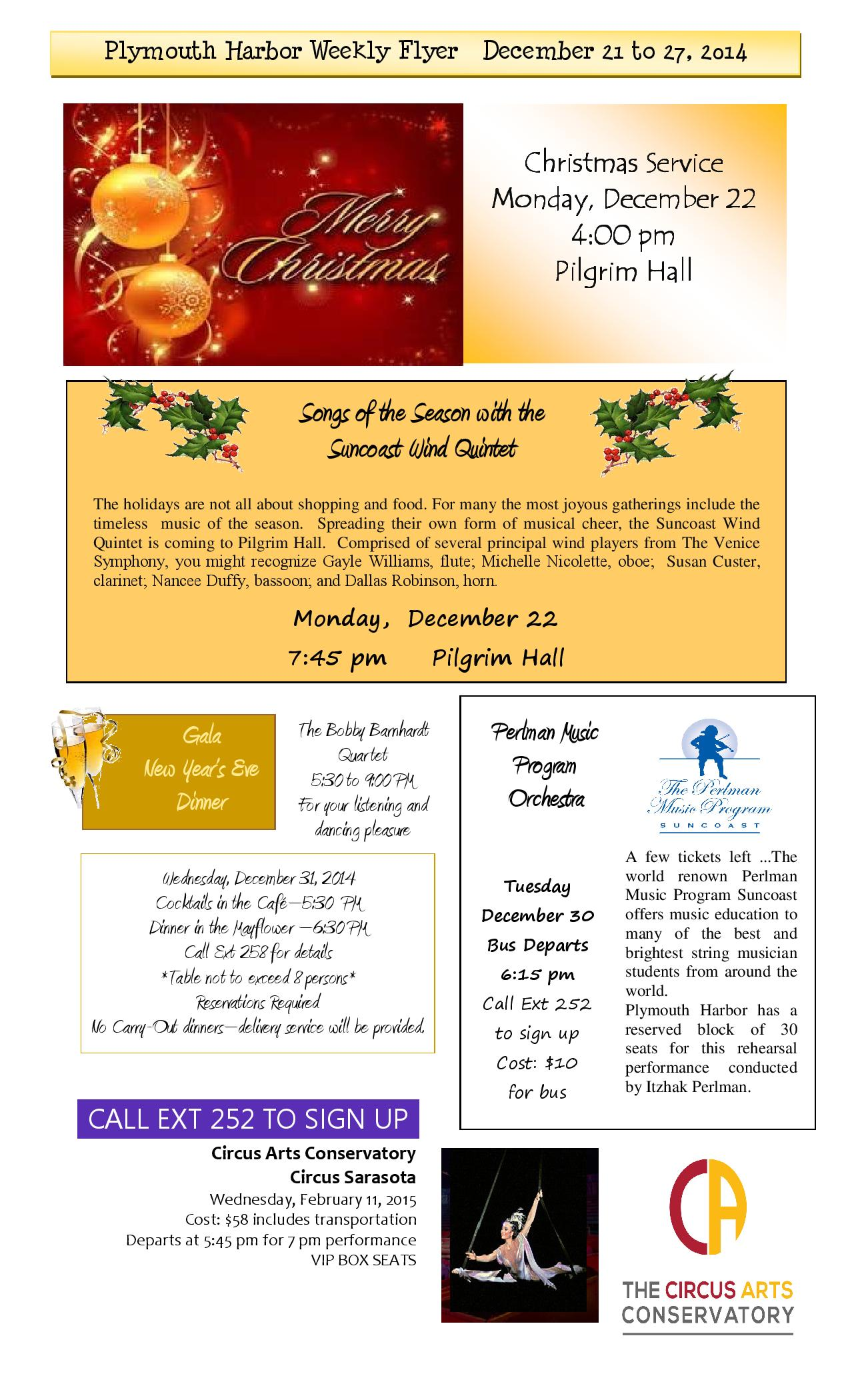 Plymouth Harbor Events And Activities December 21 27 2014